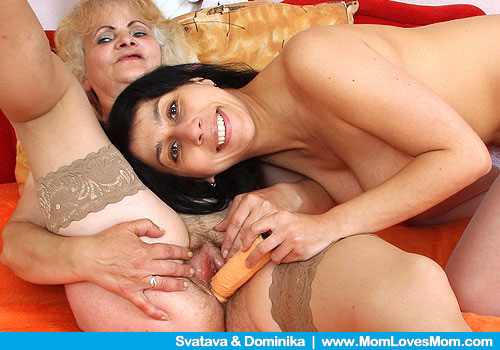 Take a look at smiling mature lesbians fucking with a long thick yellow ...