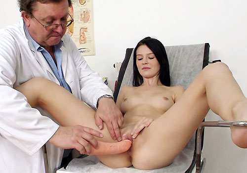 Kira kinky gyno exam at gyno clinic with old bizarre doctor 9